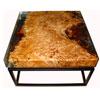 Salontafel 'Epoxy square' met schitterend populierenhout gegoten in transparante epoxyhars.