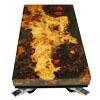 Salontafel van aangetast populierenhout gegoten in veertig lagen epoxy en afgewerkt in hoogglans blanke lak.