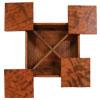 Theekistje 'vierluik' met deksels die over de diagonalen openschuiven.